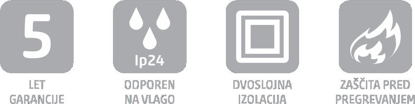 5 let garancije, ip24-odporen na vlago, dvoslojna izolacija, zaščita pred pregrevanjem