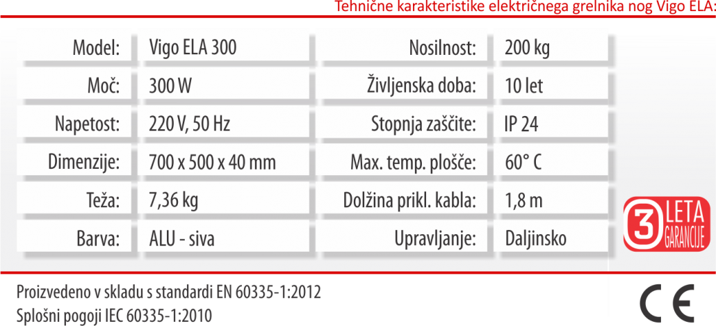 Vigo ELA - tabela - tehnične karakteristike