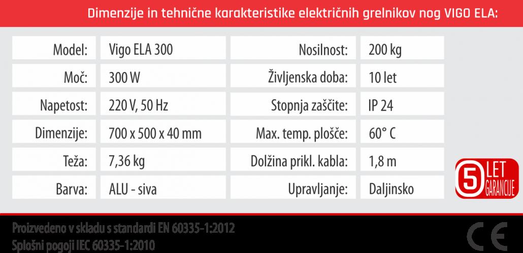 Tabela - Vigo ELA - 5 let garancije